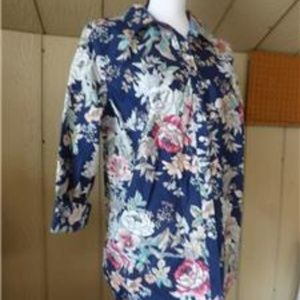 Charter Club Floral Print Tabbed Sleeves Shirt